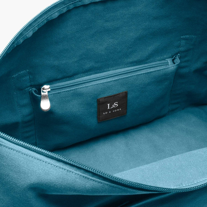 Interior Zip Pocket - The Catalina Deluxe - Washed Canvas - Teal Blue - Weekender - Lo & Sons