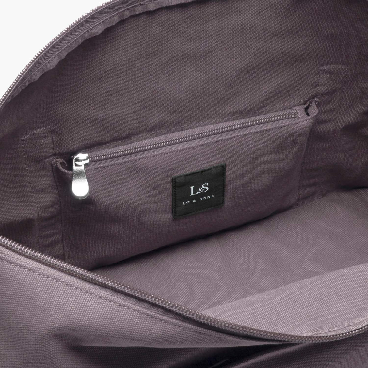 Interior Zip Pocket - The Catalina Deluxe - Washed Canvas - Thistle - Weekender - Lo & Sons