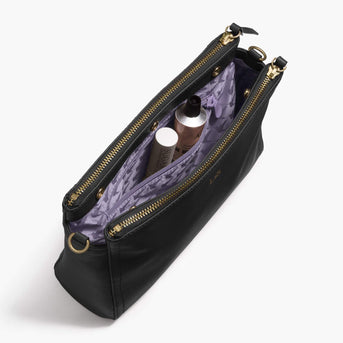 Interior Zip Pocket - The Pearl - Nappa Leather - Black / Gold / Lavender - Crossbody - Lo & Sons