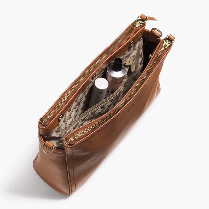 Interior Zip Pocket - The Pearl - Nappa Leather - Sienna / Gold / Camel - Crossbody - Lo & Sons
