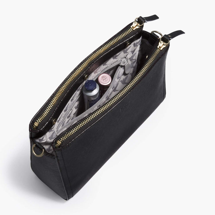 Interior Zip Pocket - The Pearl - Saffiano Leather - Black / Gold / Grey - Crossbody - Lo & Sons