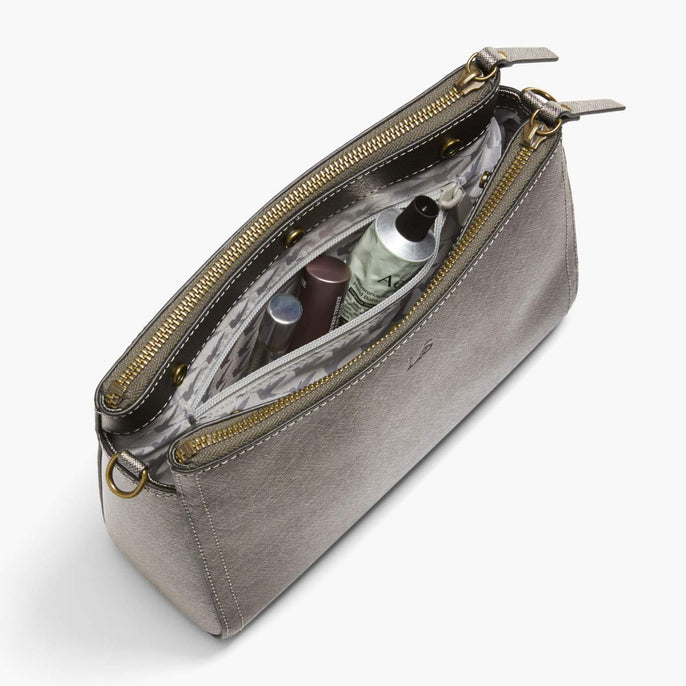 Interior Zip Pockets - The Pearl - Saffiano Leather - Graphite / Brass / Grey - Crossbody - Lo & Sons