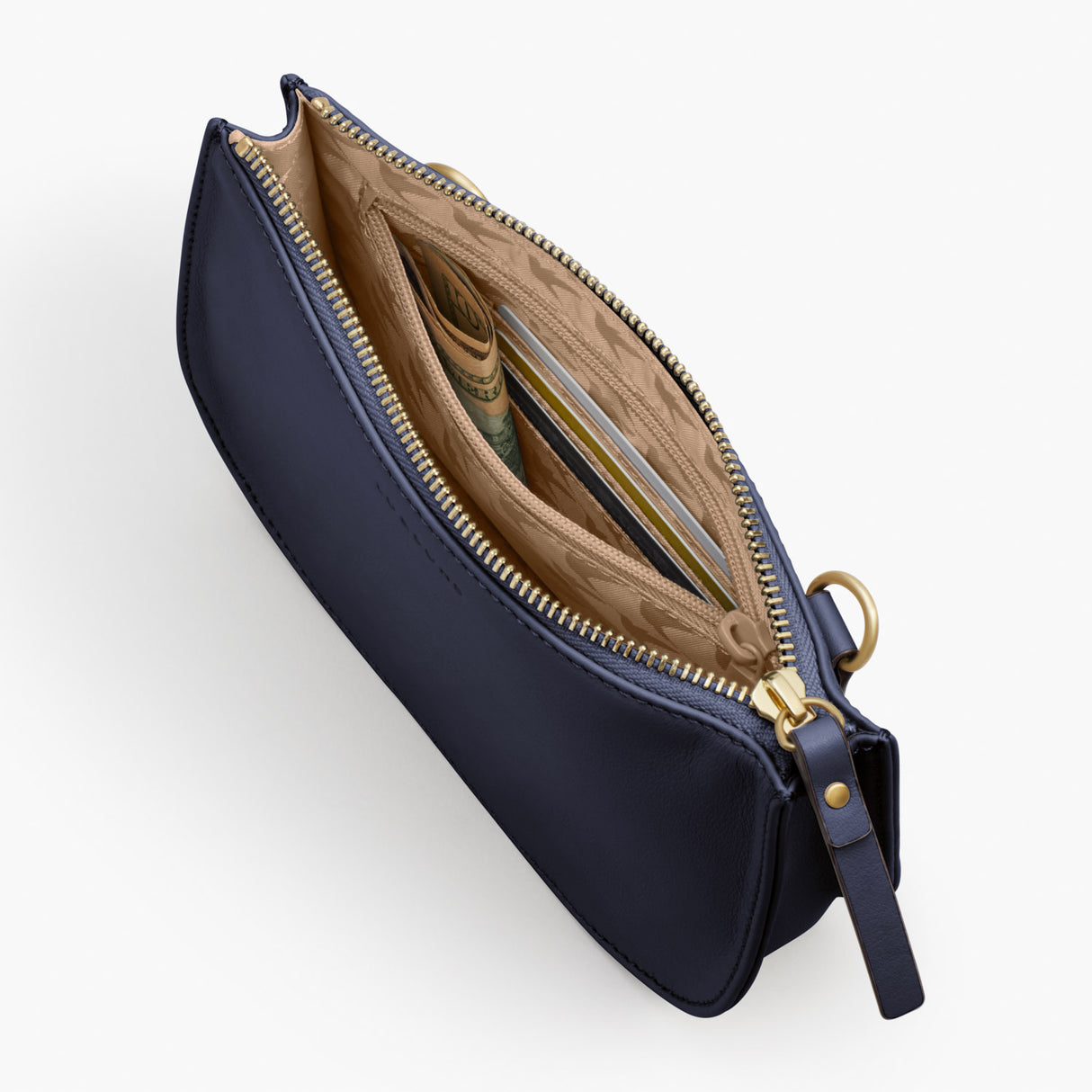 Interior Zipper Pocket - Waverley 2 - Nappa Leather - Deep Navy / Gold / Camel - Crossbody Bag - Lo & Sons