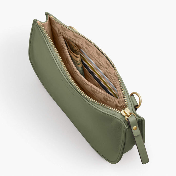 Interior Zipper - Waverley 2 - Nappa Leather - Sage Green / Gold / Camel - Crossbody Bag - Lo & Sons