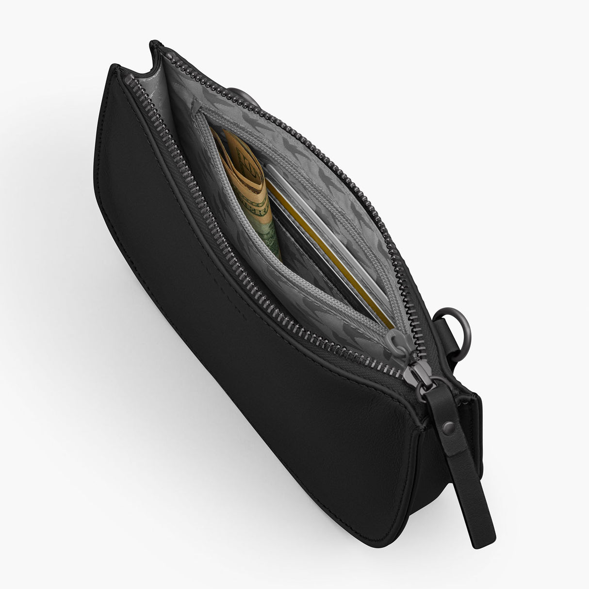 Interior Zipper - The Waverley 2 - Nappa Leather - Black / Gunmetal / Grey - Crossbody - Lo & Sons