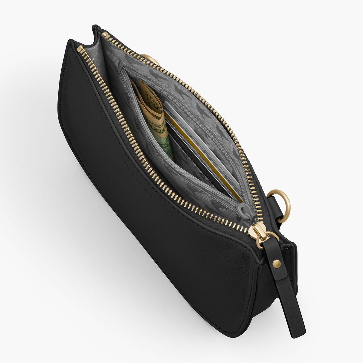 Interior Zipper - The Waverley 2 - Nappa Leather - Black / Gold / Grey - Crossbody - Lo & Sons