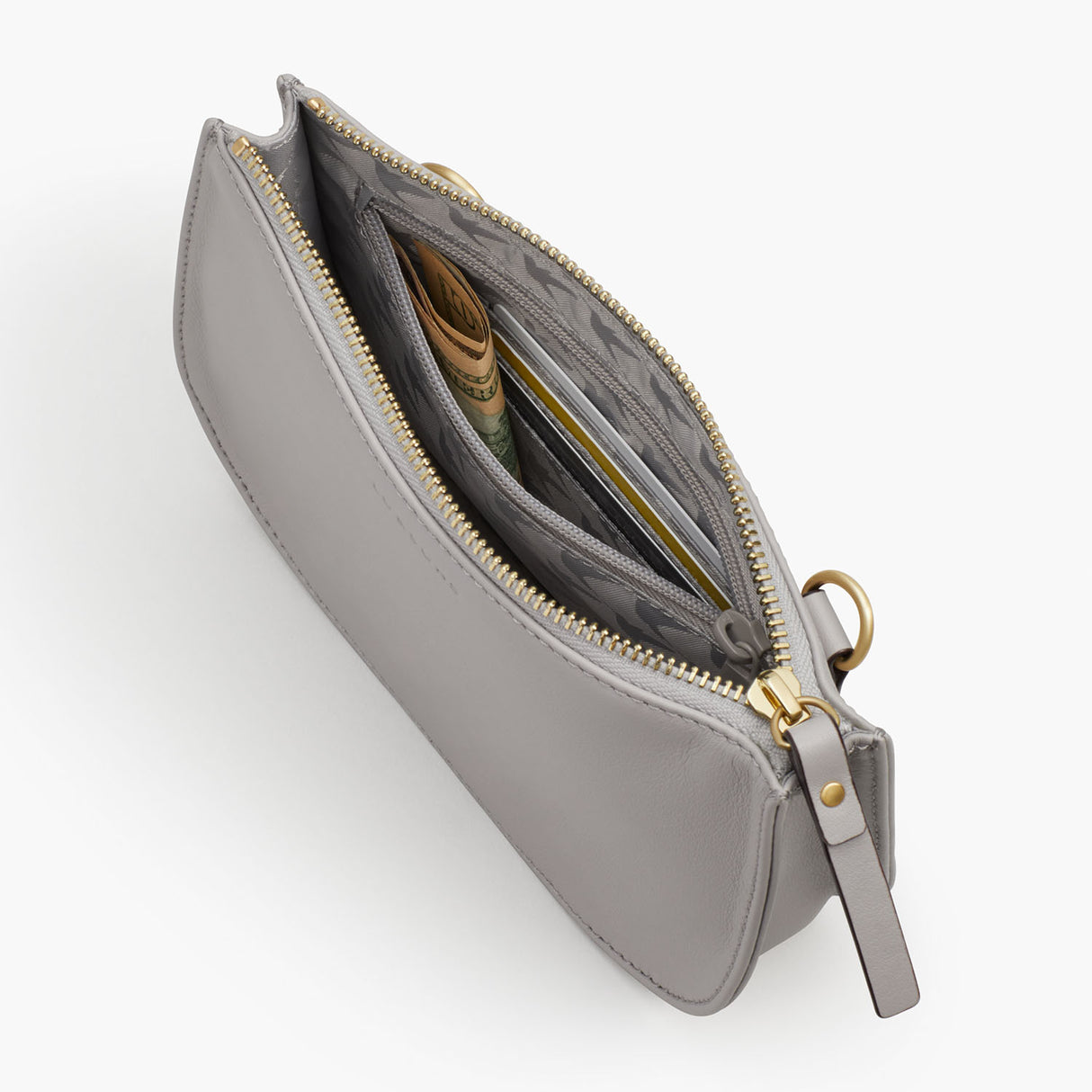 Interior Zipper - The Waverley 2 - Nappa Leather - Light Grey / Gold / Grey - Crossbody - Lo & Sons
