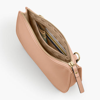 Interior Zipper  - The Waverley 2 - Nappa Leather - Rose Quartz / Gold / Camel - Crossbody - Lo & Sons