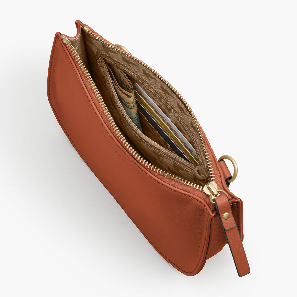 Interior Zipper - The Waverley 2 - Nappa Leather - Sienna / Gold / Camel - Crossbody - Lo & Sons