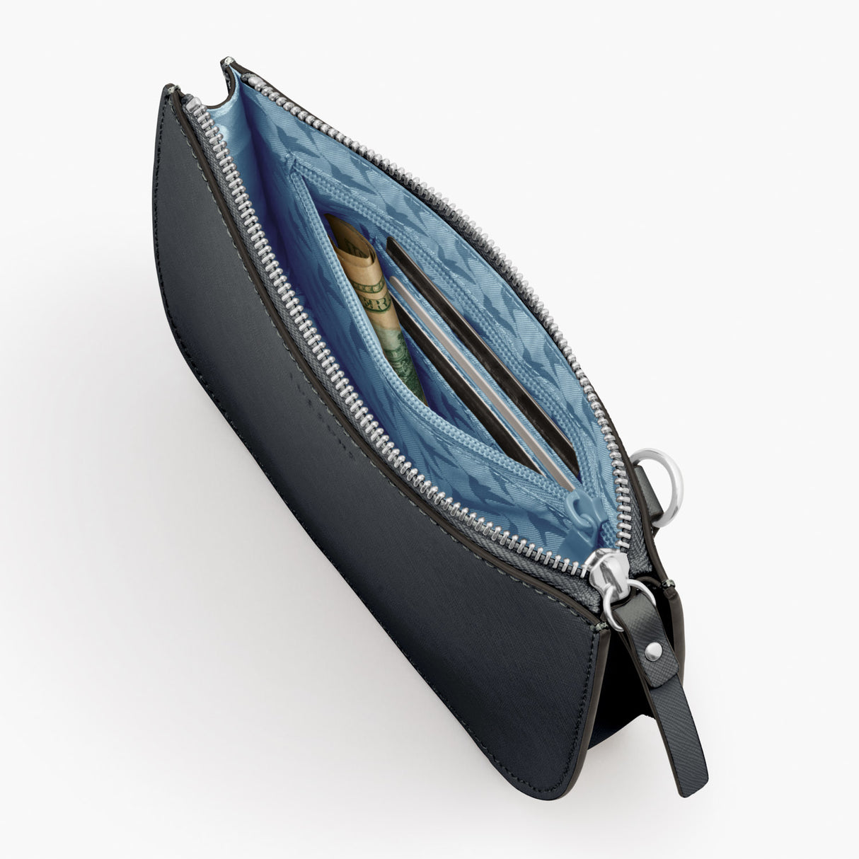 Interior Zipper - Waverley 2 - Saffiano Leather - Dark Grey / Silver / Azure - Crossbody Bag - Lo & Sons