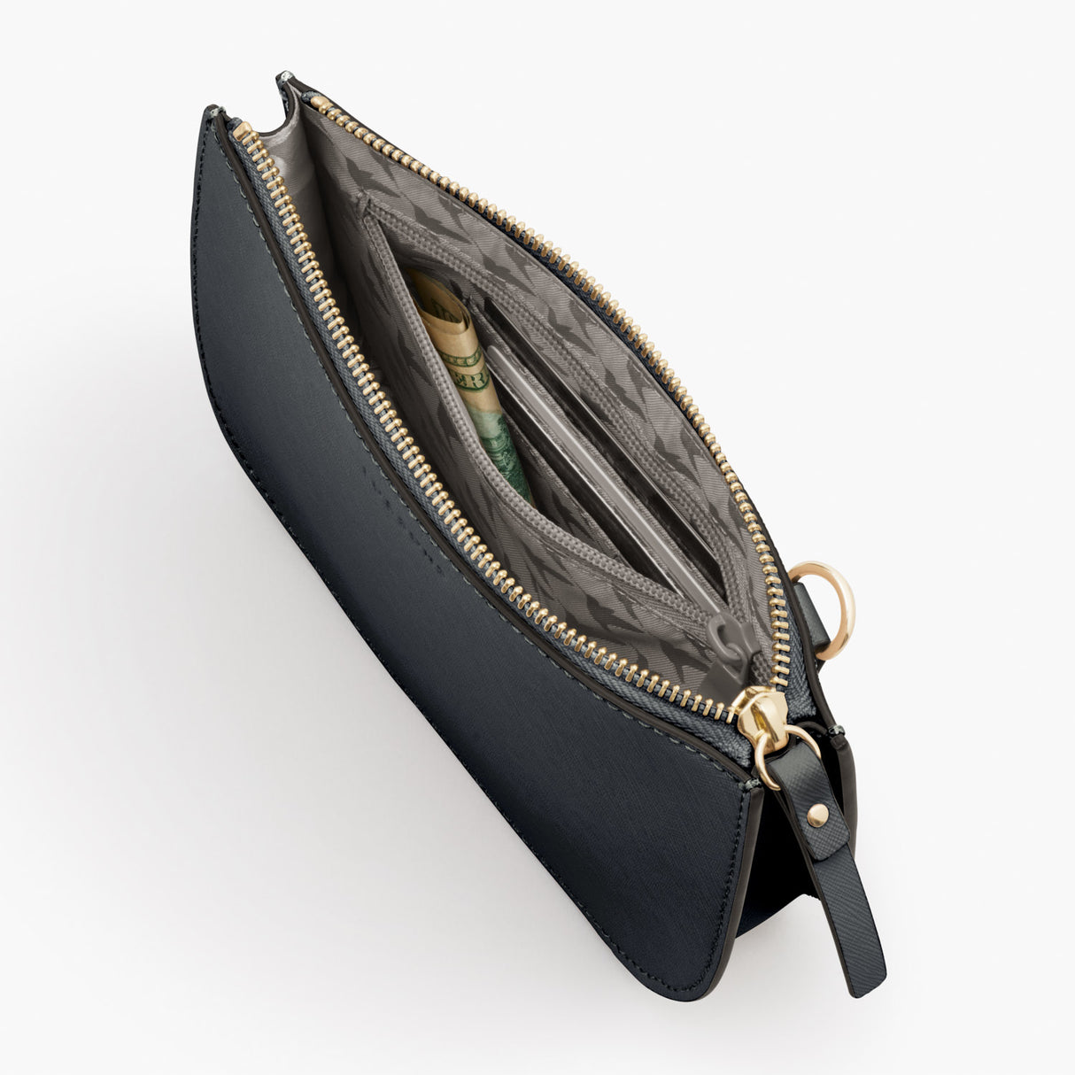 Interior Zipper - Waverley 2 - Saffiano Leather - Dark Grey / Gold / Grey - Crossbody Bag - Lo & Sons