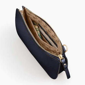 Interior Zipper Pocket - Waverley 2 - Saffiano Leather - Deep Navy / Gold / Camel - Crossbody Bag - Lo & Sons