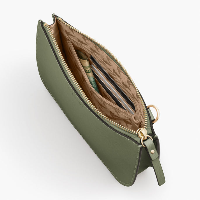 Interior Zipper Pocket - Waverley 2 - Saffiano Leather - Sage Green / Gold / Camel - Crossbody Bag - Lo & Sons