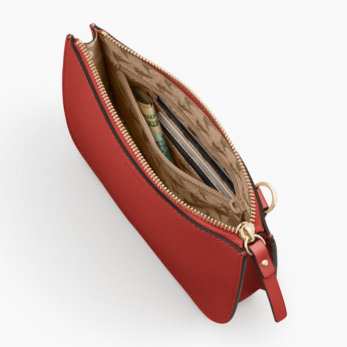 Interior Zipper Pocket - Waverley 2 - Saffiano Leather - Santa Fe Red / Gold / Camel - Crossbody Bag - Lo & Sons