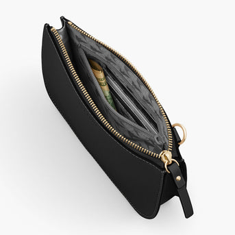 Interior Zipper - The Waverley 2 - Saffiano Leather - Black / Gold / Grey - Crossbody - Lo & Sons