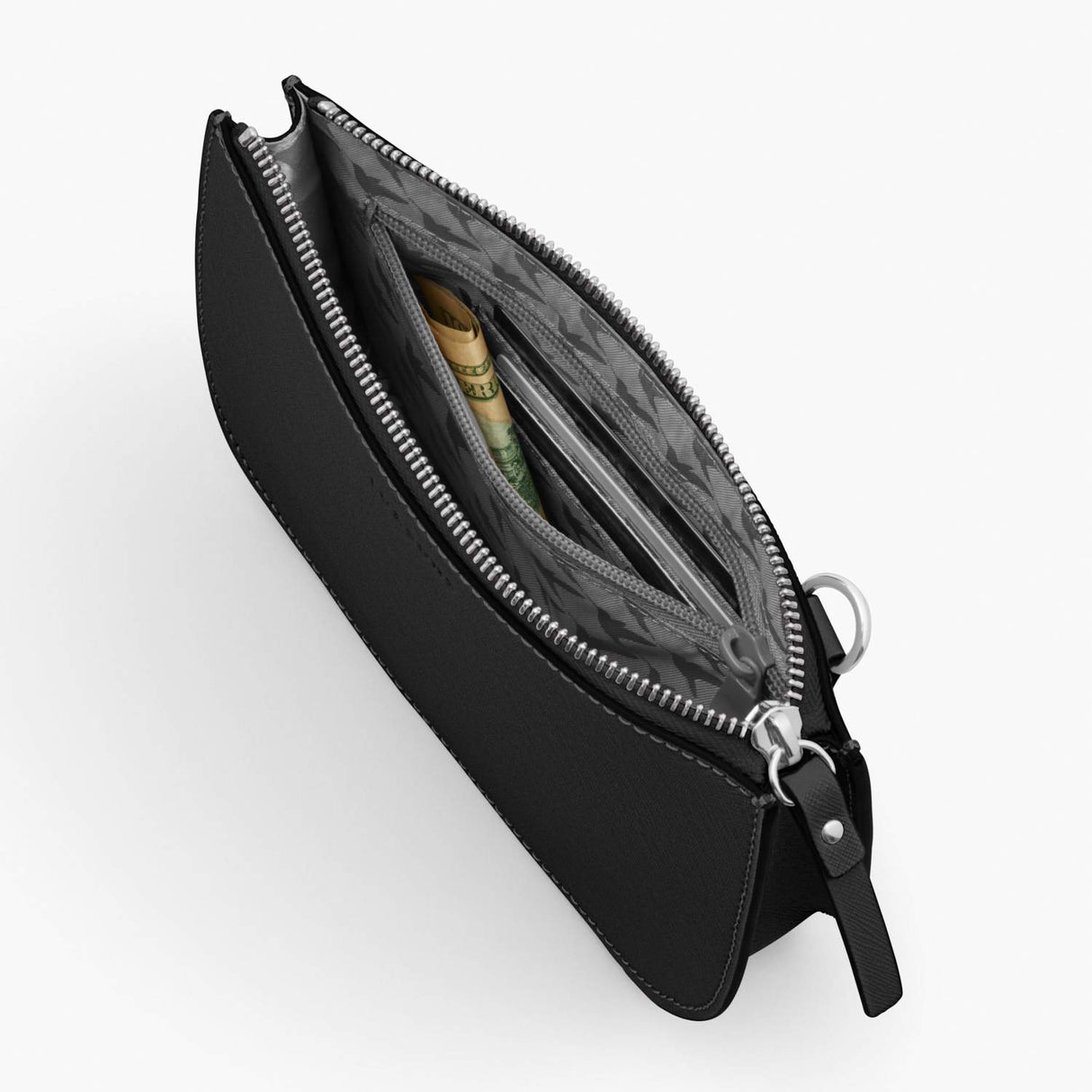 Interior Zipper - Waverley 2 - Saffiano Leather - Black / Silver / Grey - Crossbody Bag - Lo & Sons