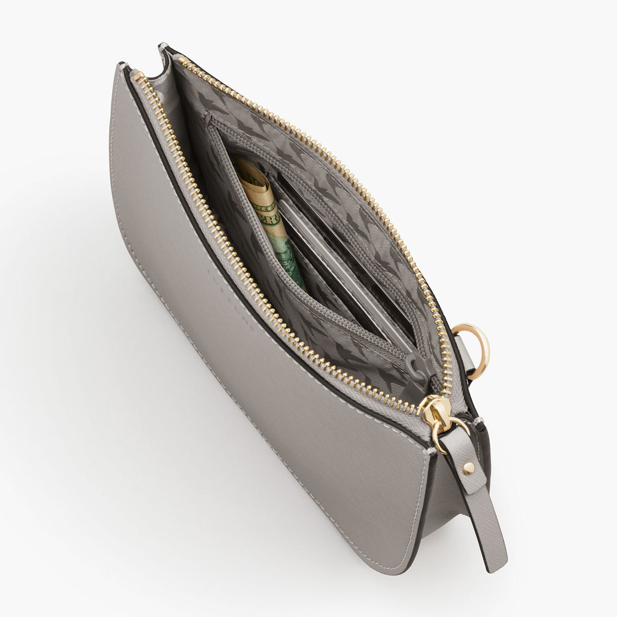 Interior Zipper - The Waverley 2 - Saffiano Leather - Light Grey / Gold / Grey - Crossbody - Lo & Sons