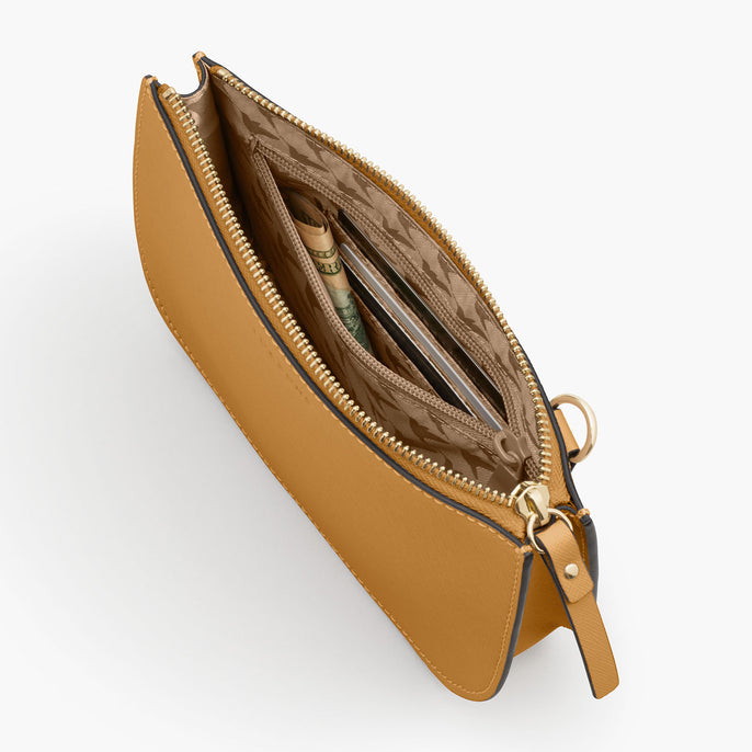 Interior Zipper - The Waverley 2 - Saffiano Leather - Sand / Gold / Camel - Crossbody - Lo & Sons