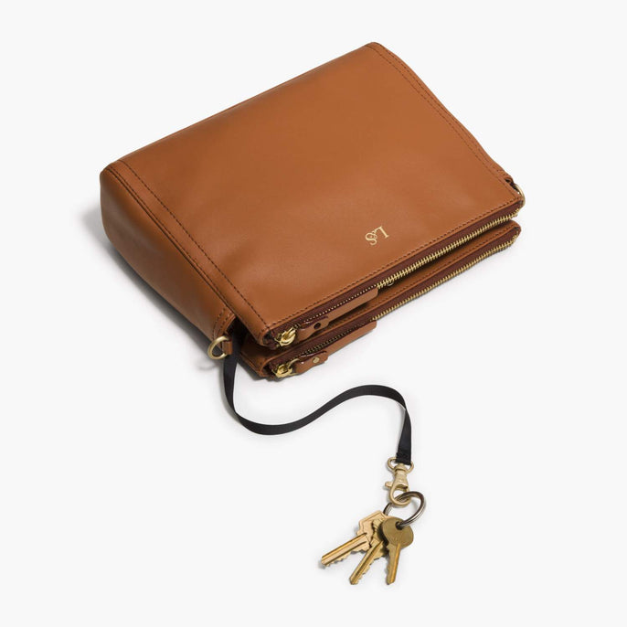 Key Leash - The Pearl - Nappa Leather - Sienna / Gold / Camel - Crossbody - Lo & Sons