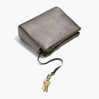 Key Leash - The Pearl - Saffiano Leather - Graphite / Brass / Grey - Crossbody - Lo & Sons