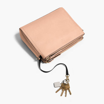 Key Leash - The Pearl - Saffiano Leather - Rose Quartz / Gold / Camel - Crossbody - Lo & Sons