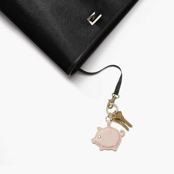 Key Leash Seville - Year of the Pig Charm - Saffiano Leather - Rose Quartz - Small Accessory - Lo & Sons