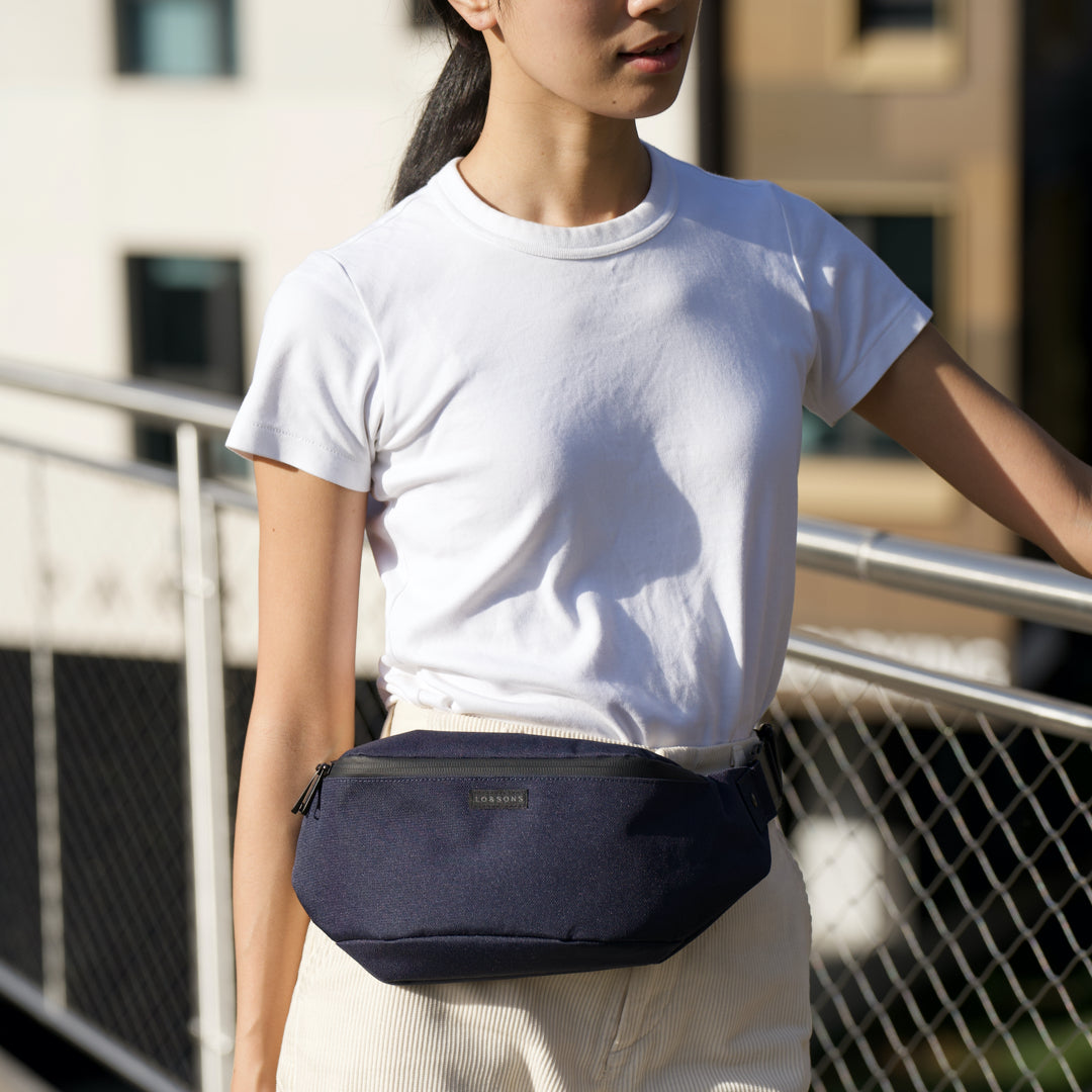 Belt Style - Bond - 600D Recycled Poly- Deep Navy / Black / Light Grey - Crossbody Bag - Lo & Sons