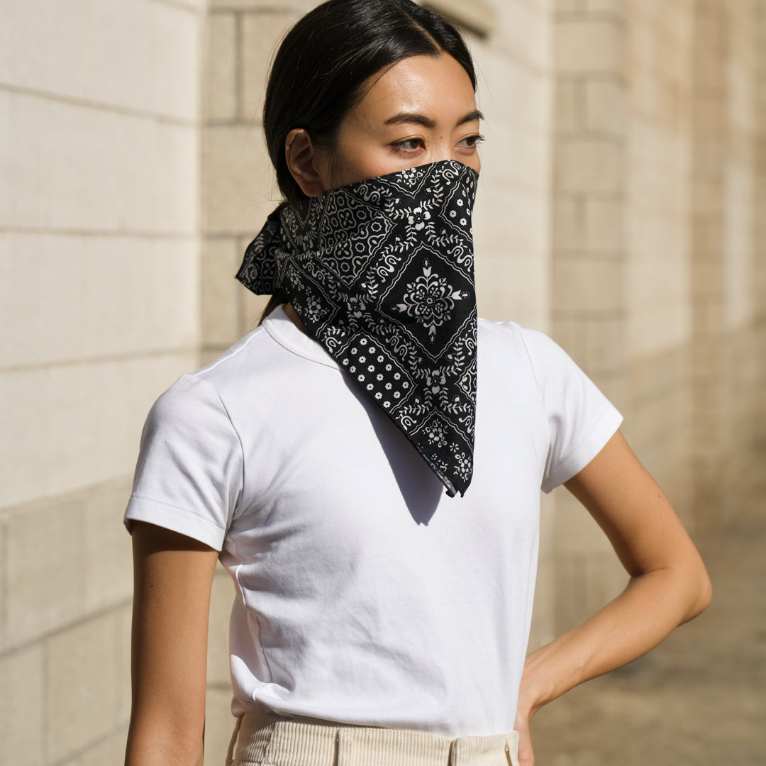 The 4 Layer Bandana Mask - Cotton - Black Square Pattern