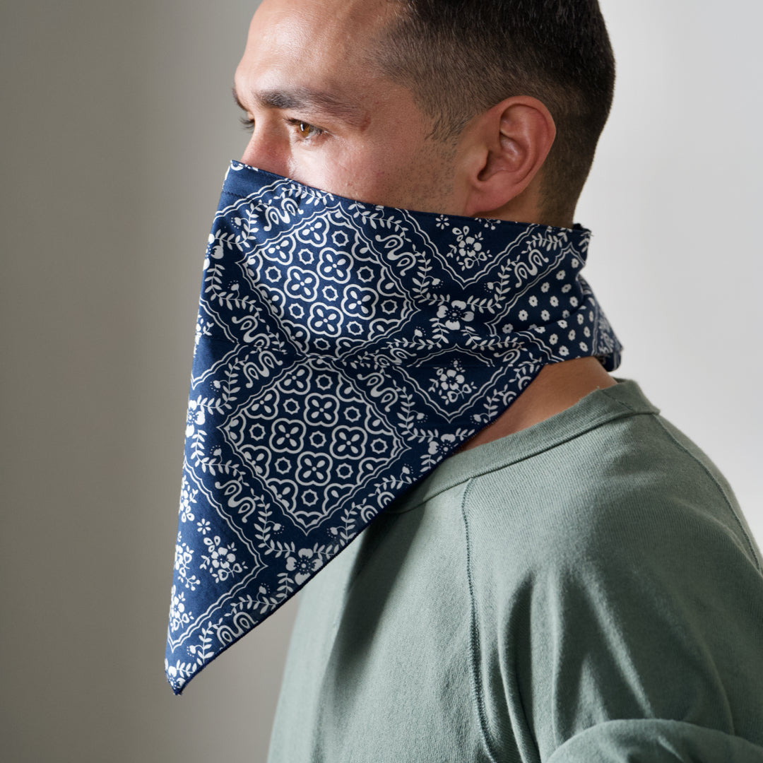 The 4 Layer Bandana Mask - Cotton - Navy Square Pattern