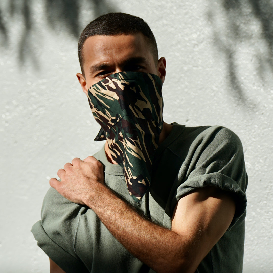The 4 Layer Bandana Mask - Cotton - Green Camo