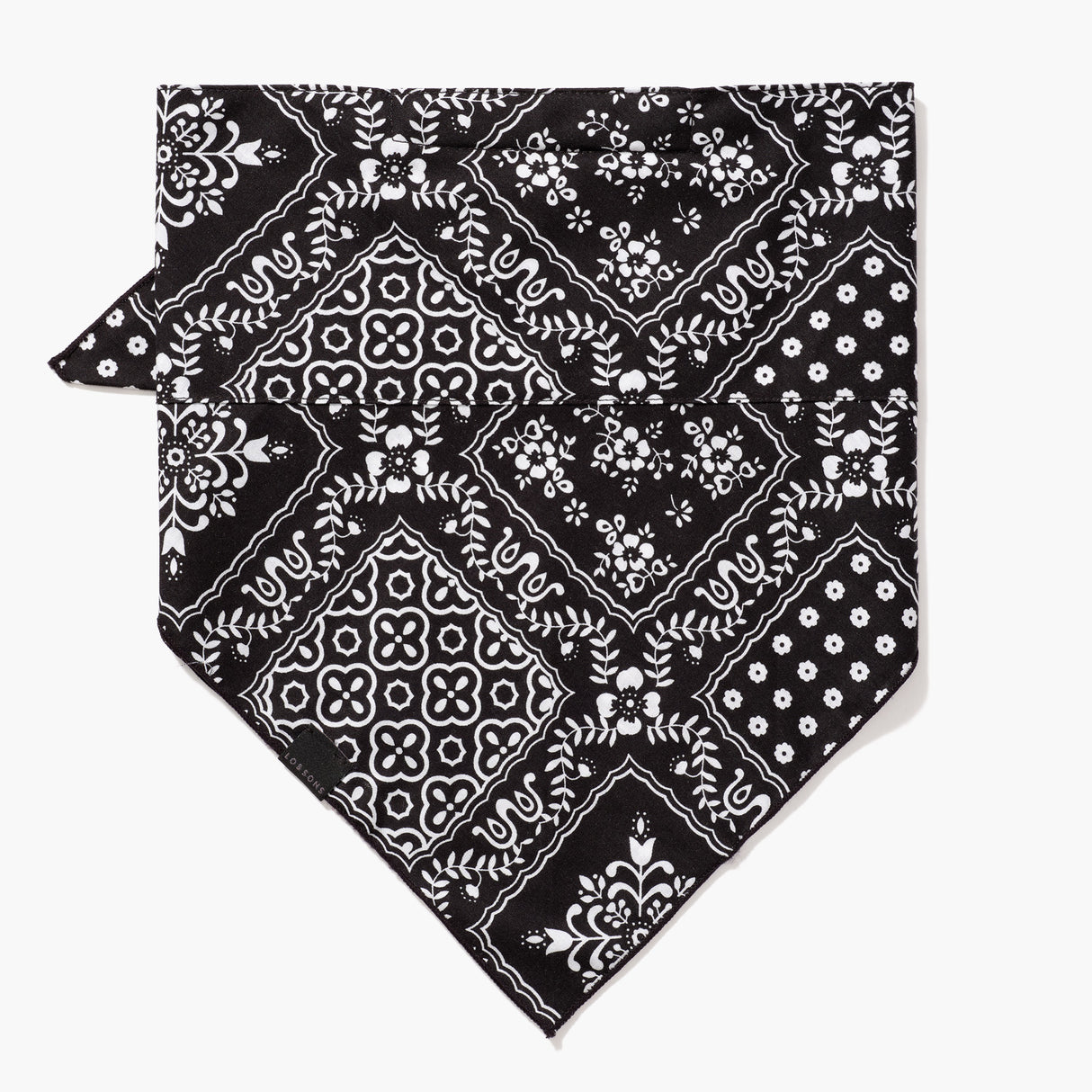 Front - 4 Layer Bandana Mask - Cotton - Black Square Pattern - Small Accessory - Lo & Sons