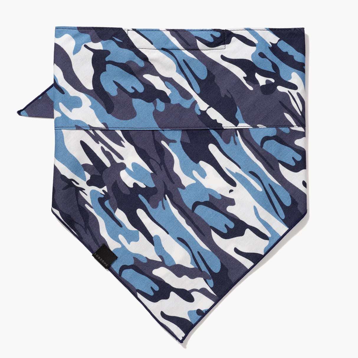 Front - 4 Layer Bandana Mask - Cotton - Navy Camo - Small Accessory - Lo & Sons