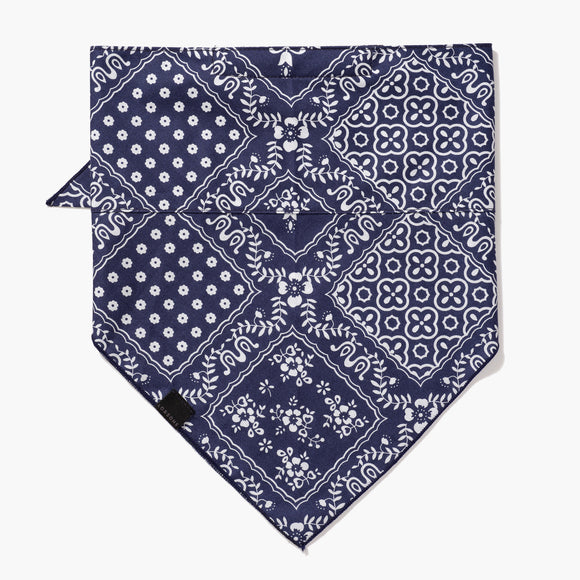 Front - 4 Layer Bandana Mask - Cotton - Navy Square Pattern - Small Accessory - Lo & Sons