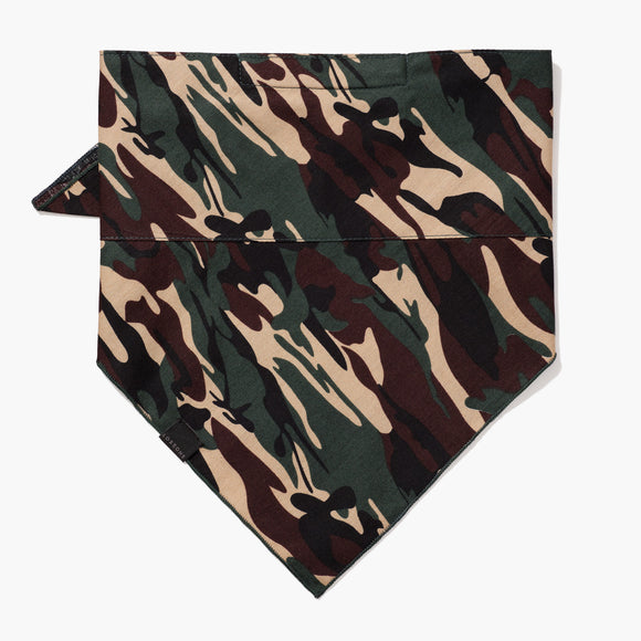 Front - 4 Layer Bandana Mask - Cotton - Green Camo - Small Accessory - Lo & Sons