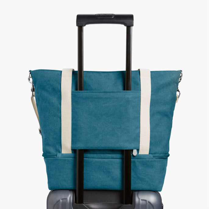 Luggage Sleeve - The Catalina Deluxe Tote - Washed Canvas - Teal Blue - Tote - Lo & Sons