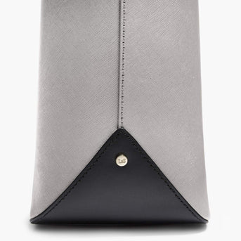 Material Close Up - The Seville Tote - Saffiano Leather - Light Grey / Gold / Grey - Tote - Lo & Sons