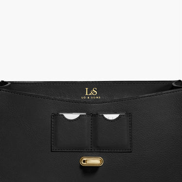 Memory Card Pockets - The Claremont - Full Grain Leather - Black - Crossbody - Lo & Sons