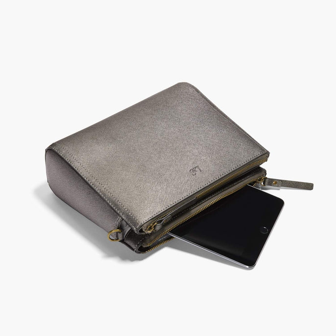 Mini Tablet - The Pearl - Saffiano Leather - Graphite / Brass / Grey - Crossbody - Lo & Sons