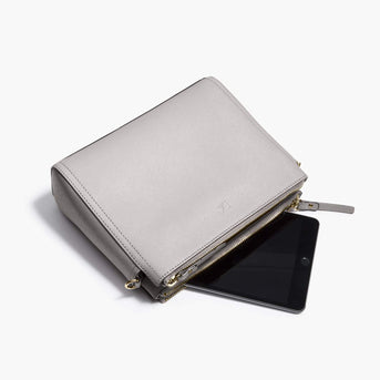 Mini Tablet - The Pearl - Saffiano Leather - Light Grey / Gold / Grey - Crossbody - Lo & Sons