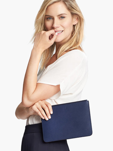 On Model Front View - Pouch - Saffiano Leather - Navy - Small Accessory - Lo & Sons