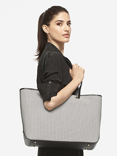 On Model Shoulder View - The Seville Tote - Perforated Saffiano Leather - Light Grey / Gold / Grey - Tote - Lo & Sons