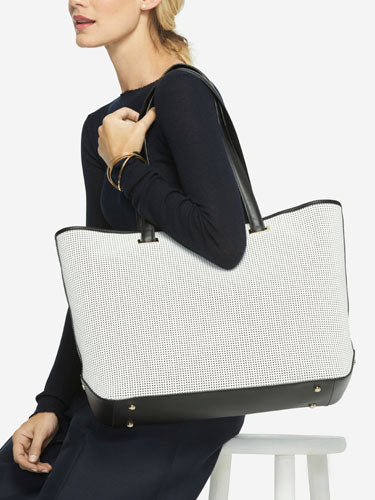 On Model Shoulder View - The Seville Tote - Perforated Saffiano Leather - White / Gold / Grey - Tote - Lo & Sons