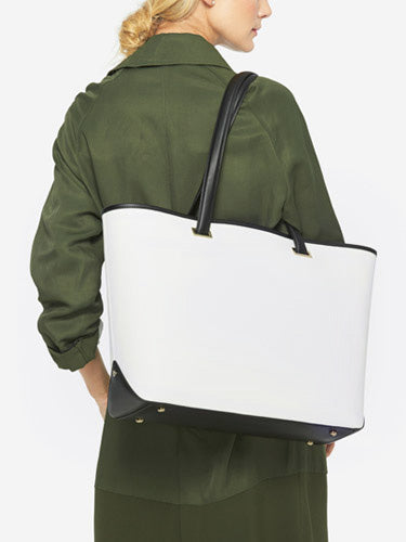 On Model Shoulder View - The Seville Tote - Saffiano Leather - White / Gold / Grey - Tote - Lo & Sons