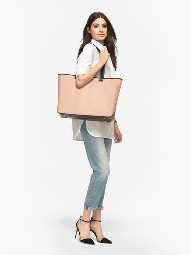 '- The Seville ToteOn Model Shoulder View - Vachetta Leather - Natural / Gold / Grey - Tote - Lo & Sons
