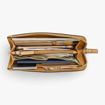 Overhead Interior Propped - The Leather Wallet - Nappa Leather - Sand / Gold / Camel - Small Accessory - Lo & Sons