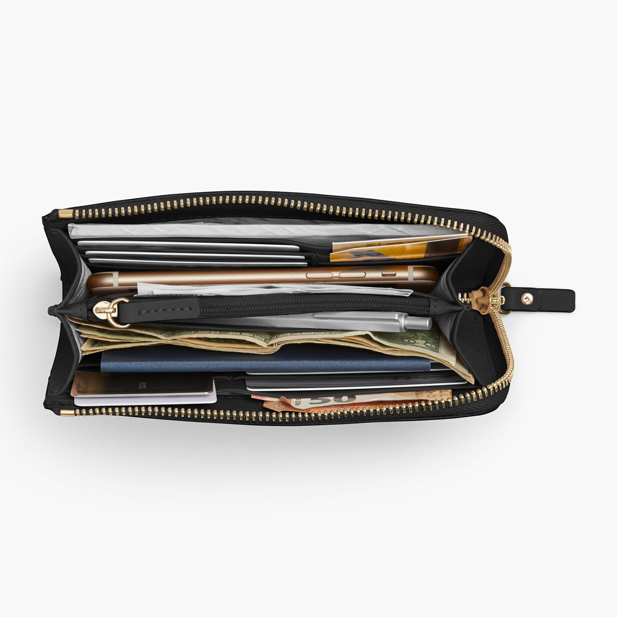 Overhead Interior Propped - The Leather Wallet - Saffiano Leather - Black / Gold / Grey - Small Accessory - Lo & Sons