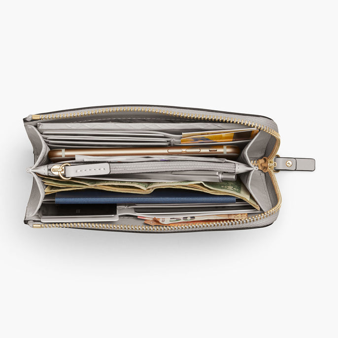 Overhead Interior Propped - The Leather Wallet - Saffiano Leather - Light Grey / Gold / Grey - Small Accessory - Lo & Sons