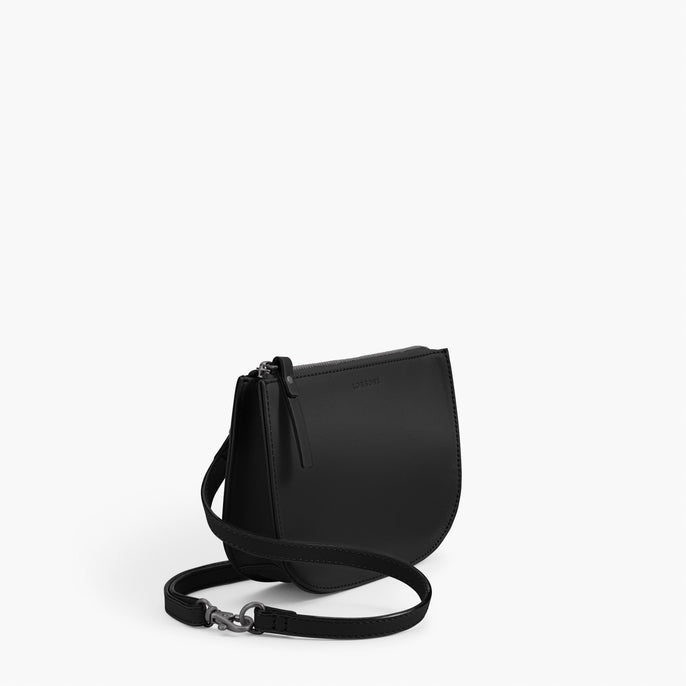 Side - The Waverley 2 - Nappa Leather - Black / Gunmetal / Grey - Crossbody - Lo & Sons