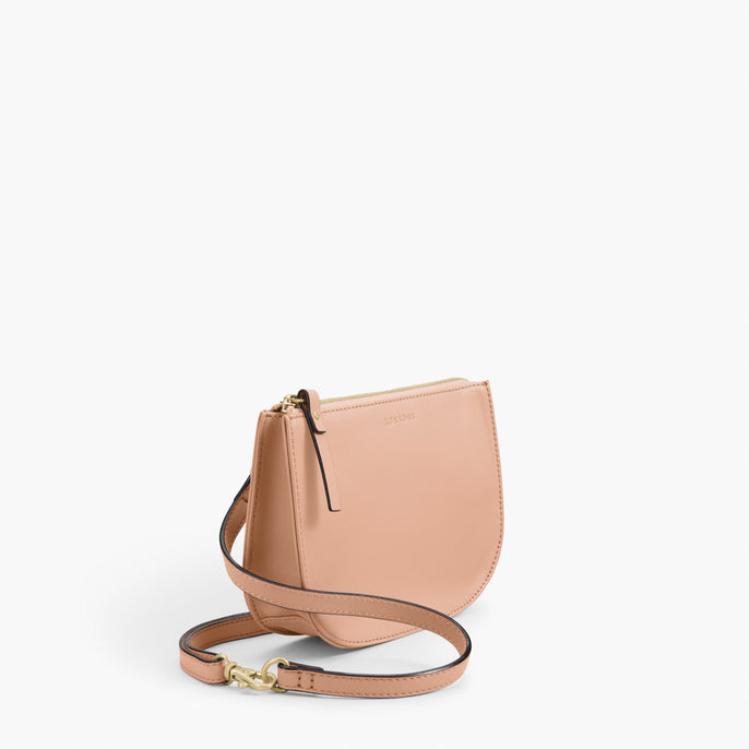 Side - The Waverley 2 - Nappa Leather - Rose Quartz / Gold / Camel - Crossbody - Lo & Sons