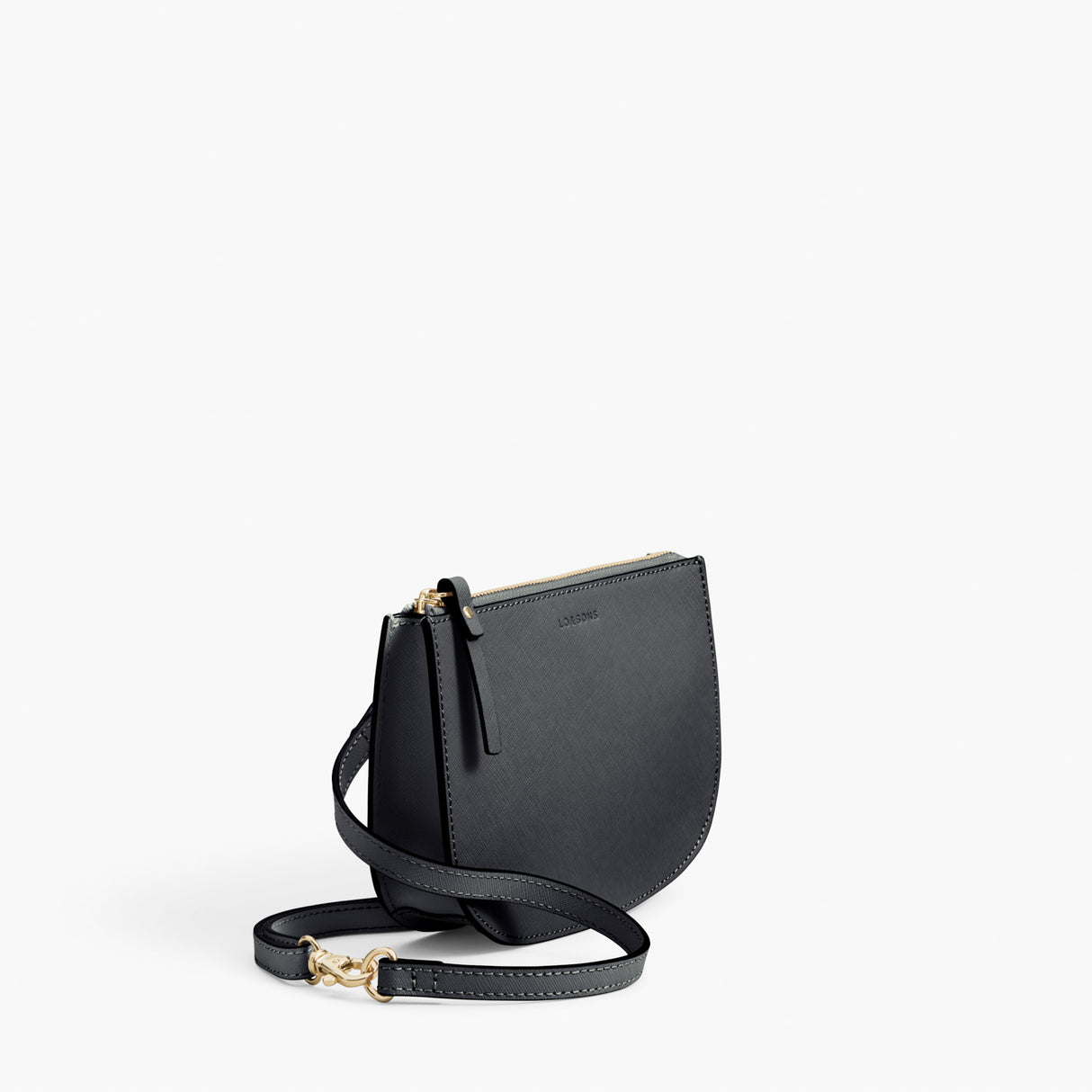 Side - Waverley 2 - Saffiano Leather - Dark Grey / Gold / Grey - Crossbody Bag - Lo & Sons